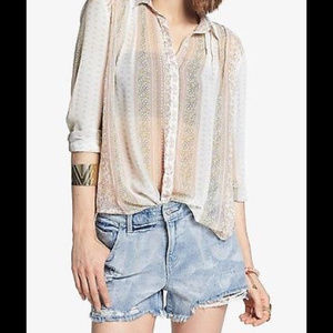 Free People Moonlight Mile Sheer Button Up Tunic s